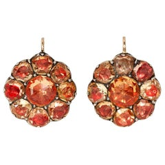 Early 19th Century Foiled Back Topaz Cluster Earrings