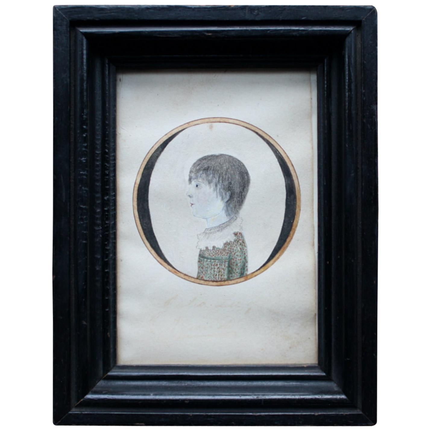 Early 19th Century Folk Art American School Portrait of Julia Lee Aged Seven