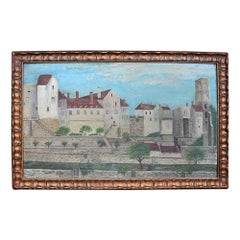 Early 19th Century Folk Art Houses on the Hill Painting on Board