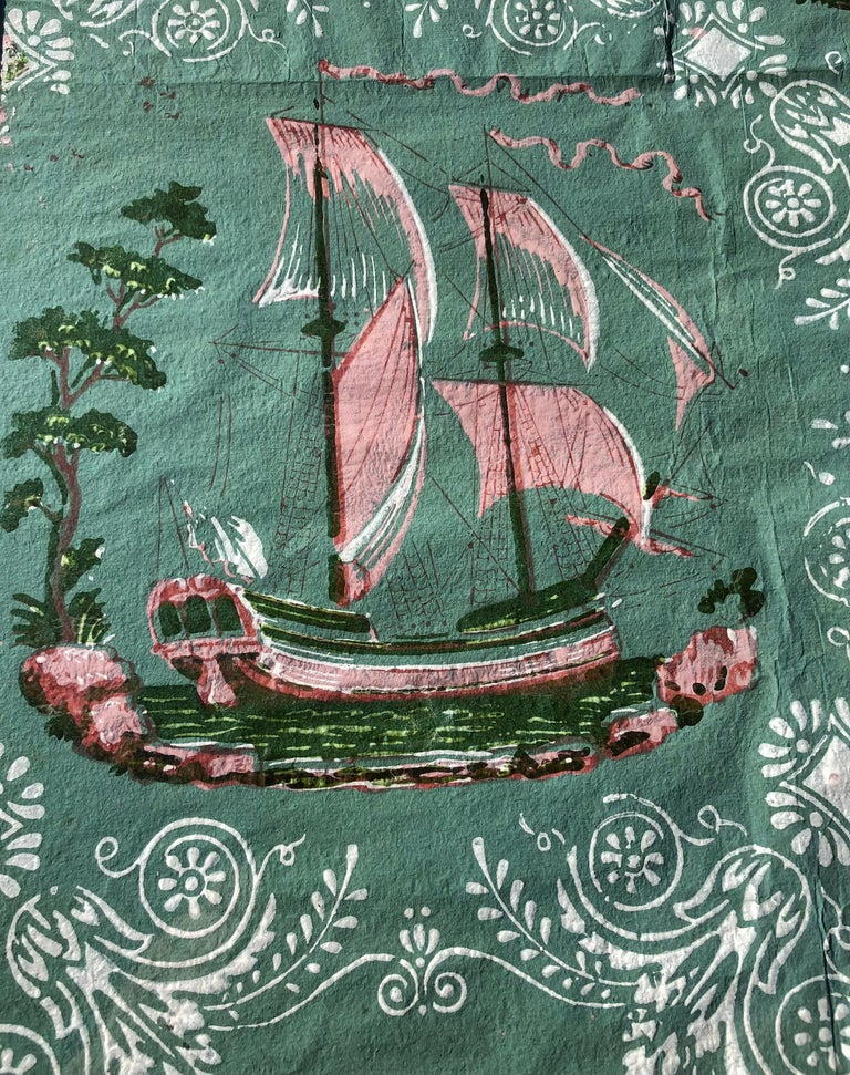 Folk Art Early 19th Century Framed Wallpaper Fragment For Sale