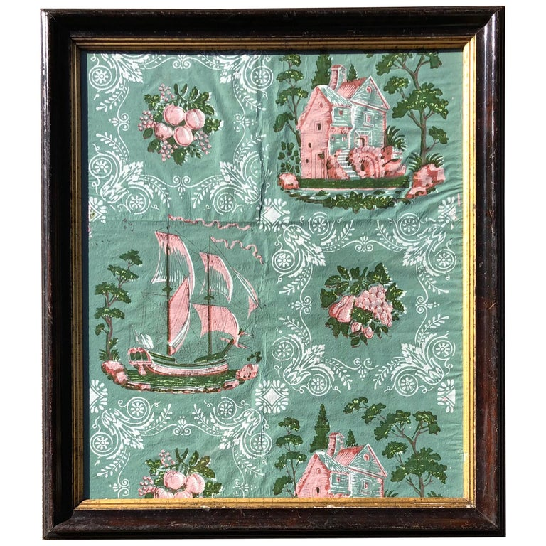 Early 19th Century Framed Wallpaper Fragment For Sale