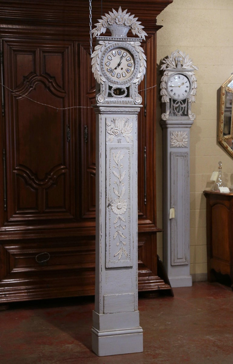Early 19th Century French Carved Oak Painted Grandfather Clock from Normandy For Sale 5