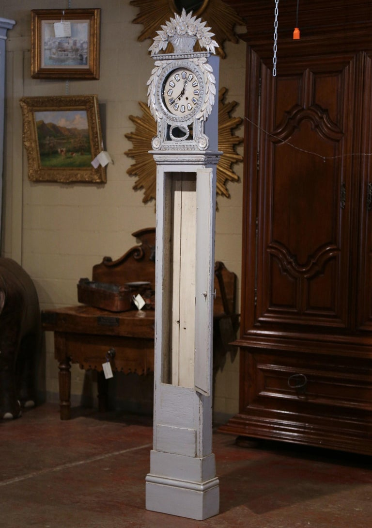 Early 19th Century French Carved Oak Painted Grandfather Clock from Normandy For Sale 6