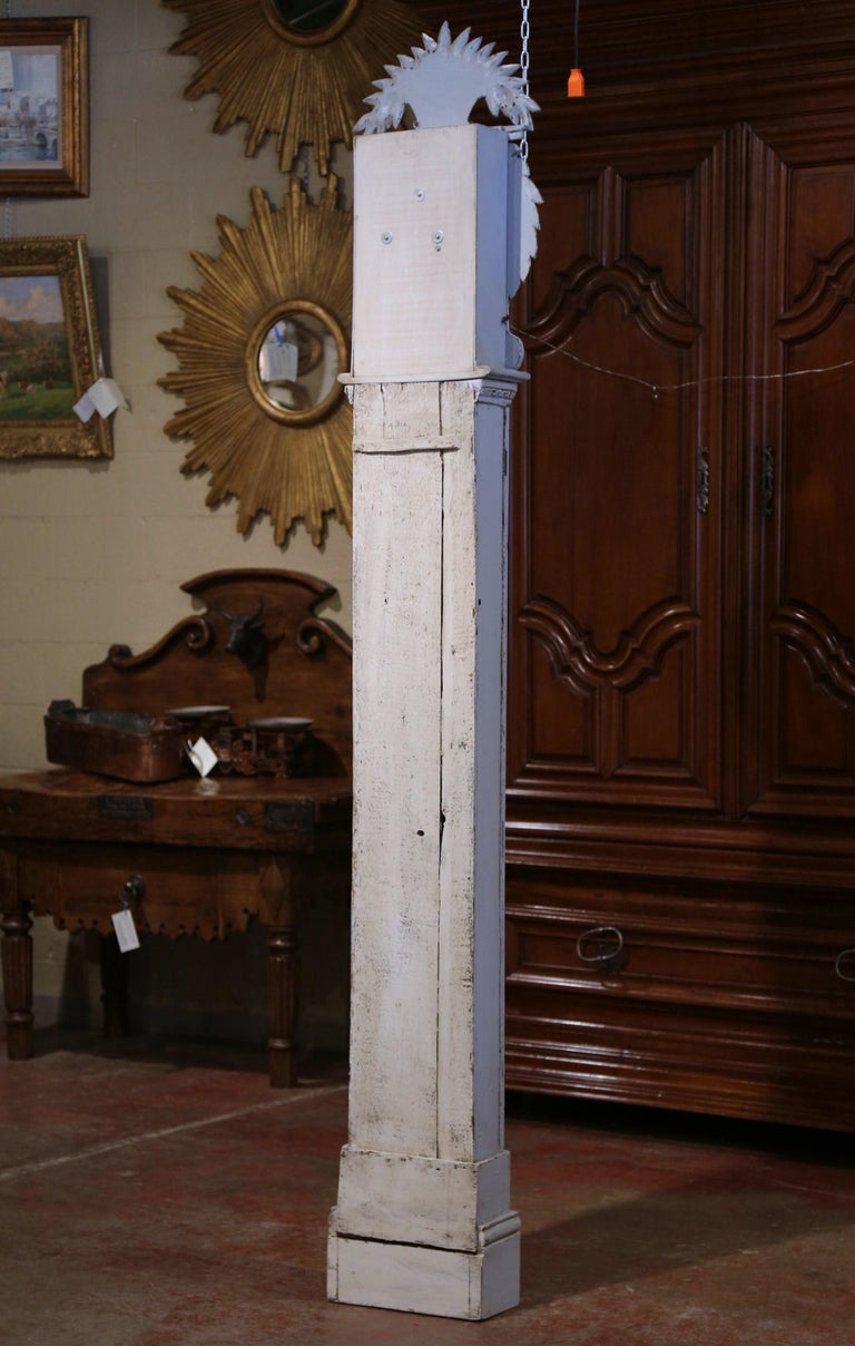 Early 19th Century French Carved Oak Painted Grandfather Clock from Normandy For Sale 7