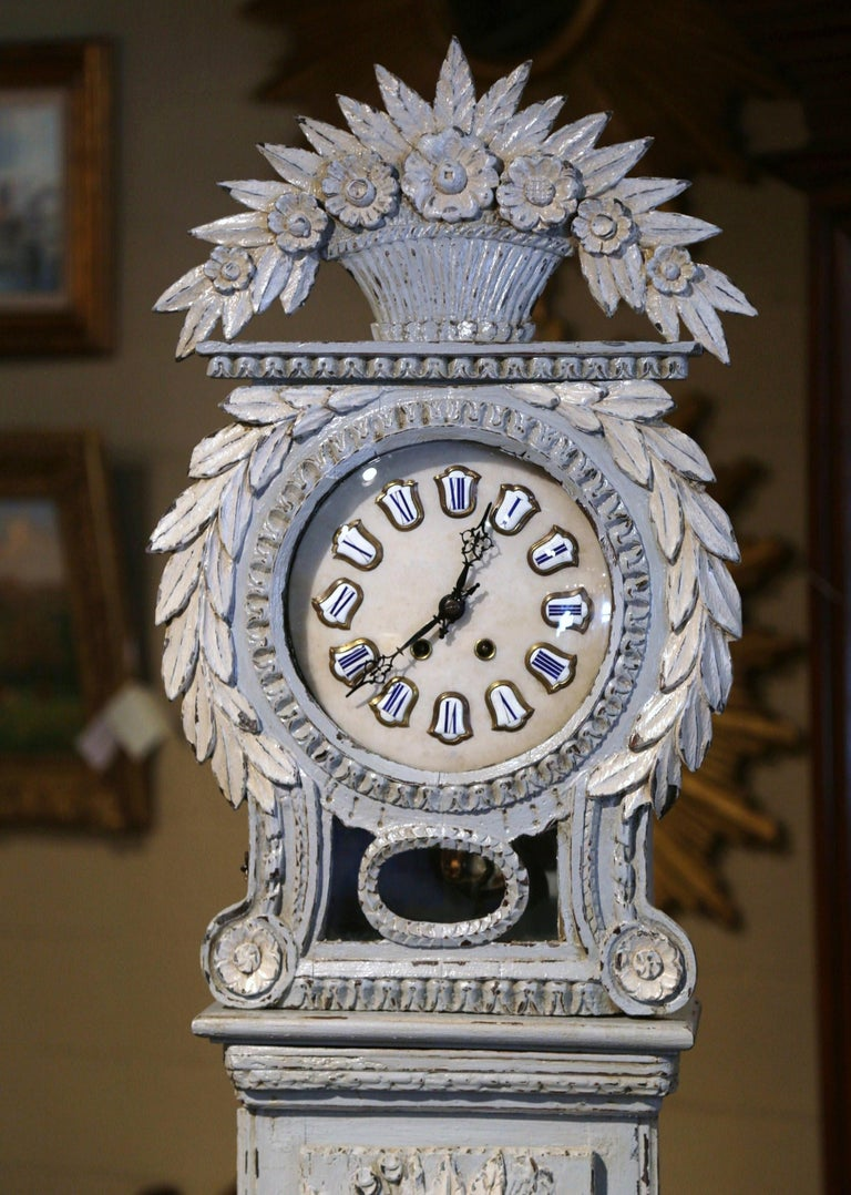 Louis XV Early 19th Century French Carved Oak Painted Grandfather Clock from Normandy For Sale