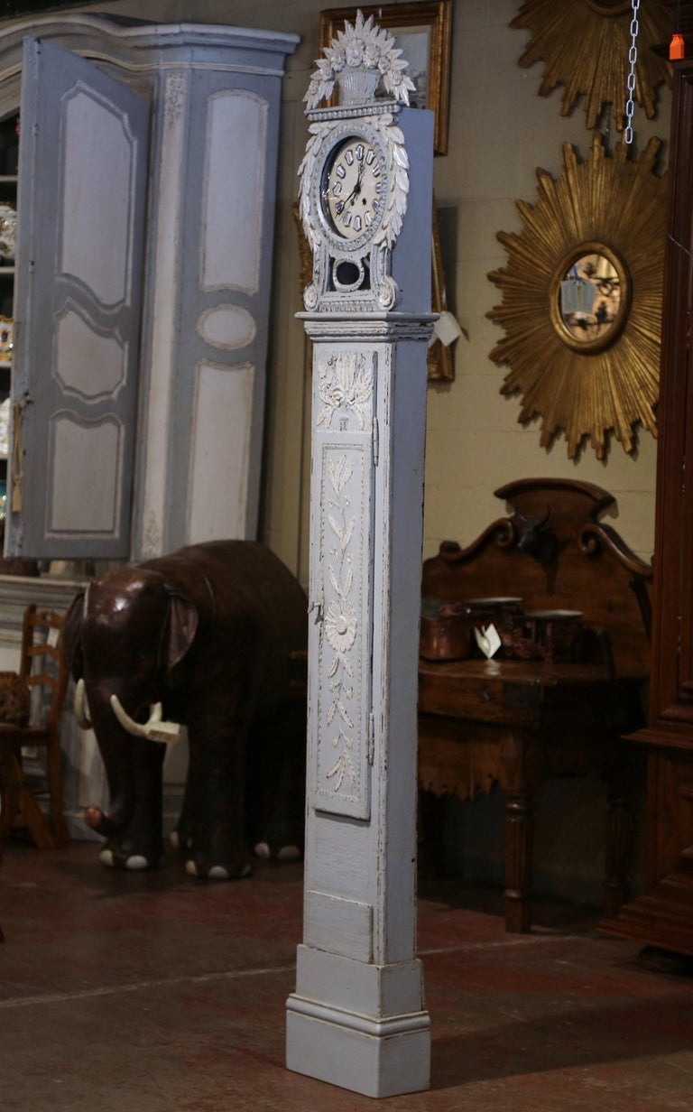 Hand-Carved Early 19th Century French Carved Oak Painted Grandfather Clock from Normandy For Sale