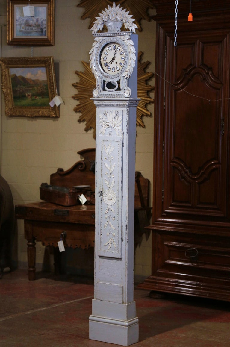Early 19th Century French Carved Oak Painted Grandfather Clock from Normandy For Sale 1