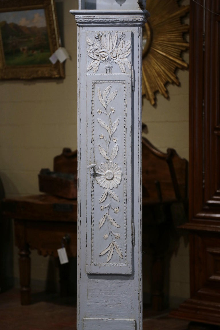 Early 19th Century French Carved Oak Painted Grandfather Clock from Normandy For Sale 2