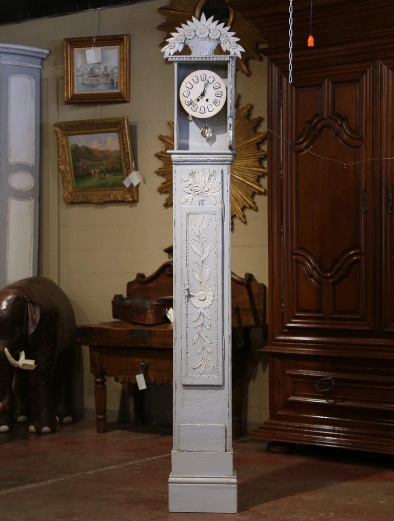 Early 19th Century French Carved Oak Painted Grandfather Clock from Normandy For Sale 3