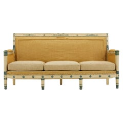 Early 19th Century French Carved Wood Painted Sofa in Burlap
