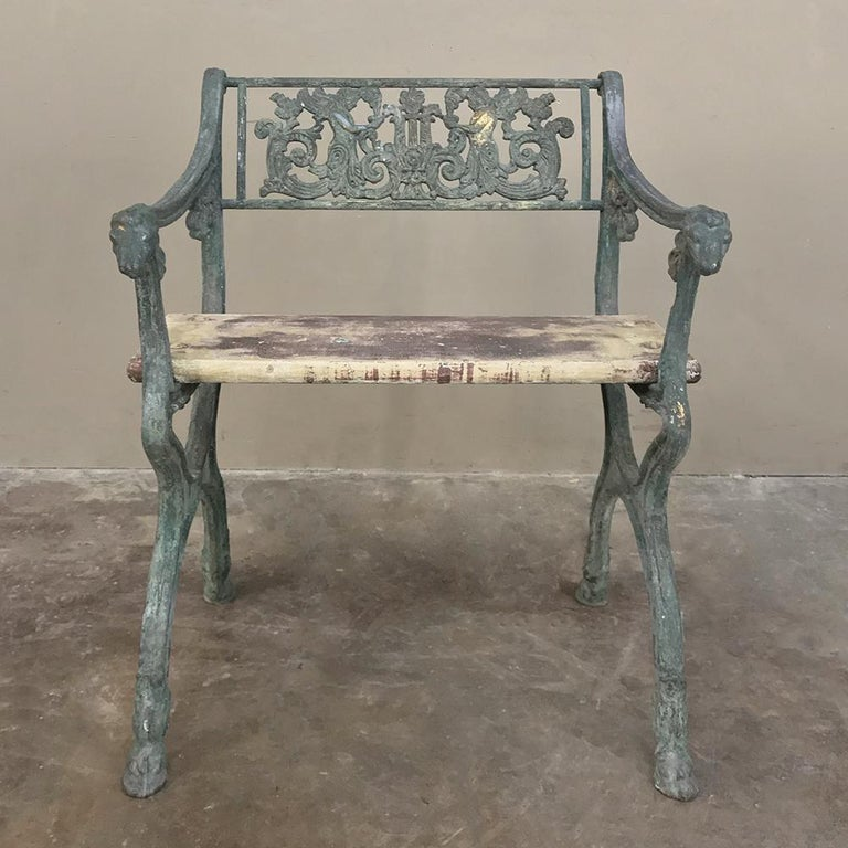 Early 19th century French Charles X cast iron armchair is the ideal choice for your garden, sunroom or patio! Such examples of the metalsmith's art are rare indeed, and ideal for providing the perfect Old World touch, circa 1830s. Measures: 30 H x