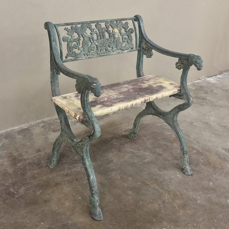 Mid-19th Century Early 19th Century French Charles X Cast Iron Armchair For Sale