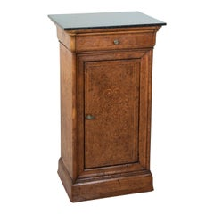 Early 19th Century French Charles X Period Birdseye Maple Nightstand with Marble