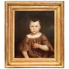 Early 19th Century French Child Portrait Oil Painting in Gilt Frame