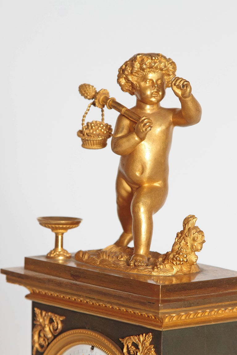 Marble Early 19th Century French Clock with Putto For Sale