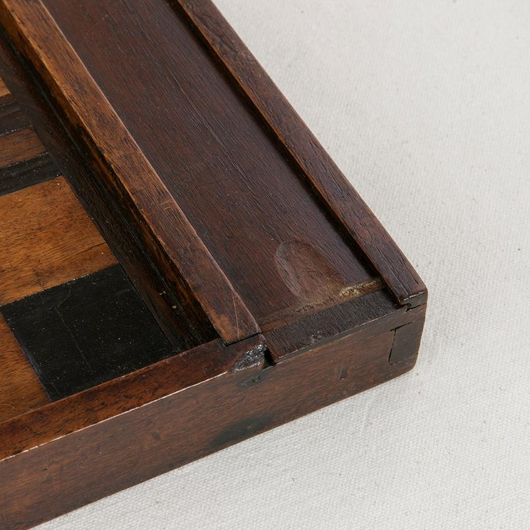 Early 19th Century French Double Sided Marquetry Game Box with Checker Pieces For Sale 5