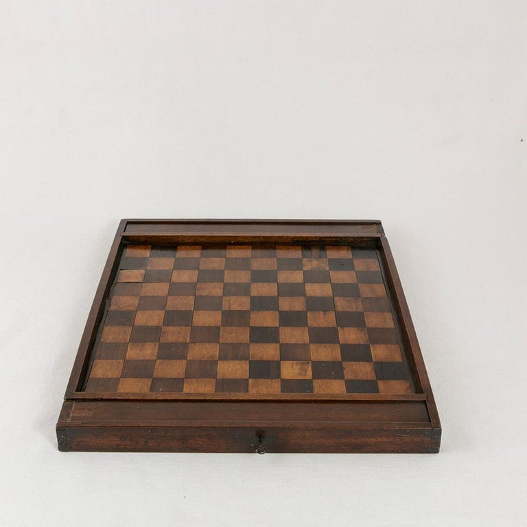 Walnut Early 19th Century French Double Sided Marquetry Game Box with Checker Pieces For Sale