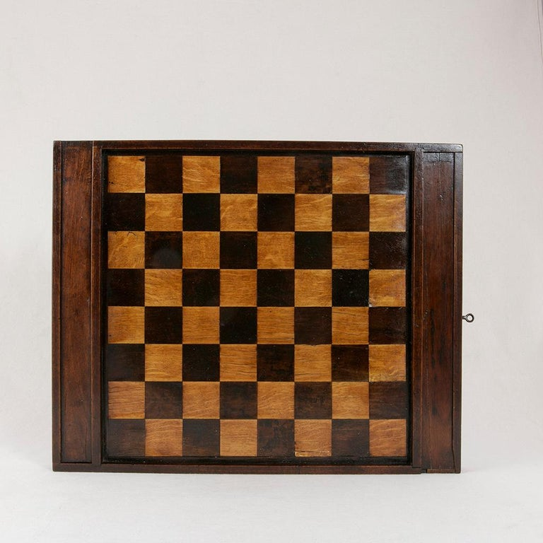 Early 19th Century French Double Sided Marquetry Game Box with Checker Pieces For Sale 2