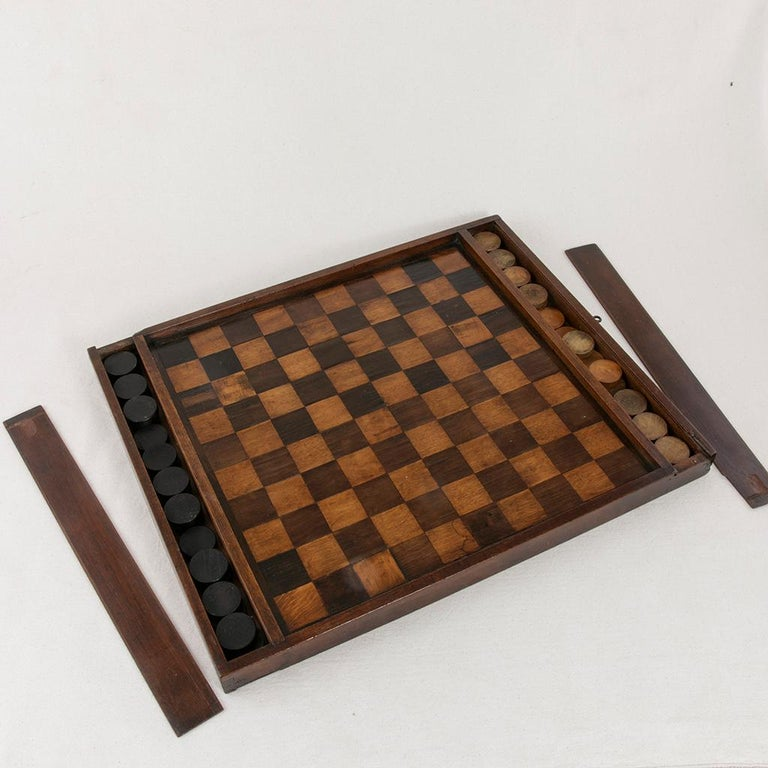 Early 19th Century French Double Sided Marquetry Game Box with Checker Pieces For Sale 3