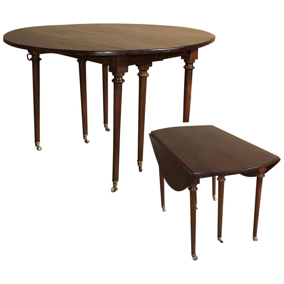 Early 19th Century French Dropleaf Dining Table