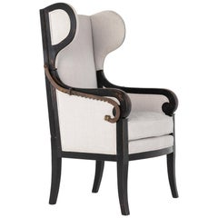 Early 19th Century French Ebonized Reclining Armchair