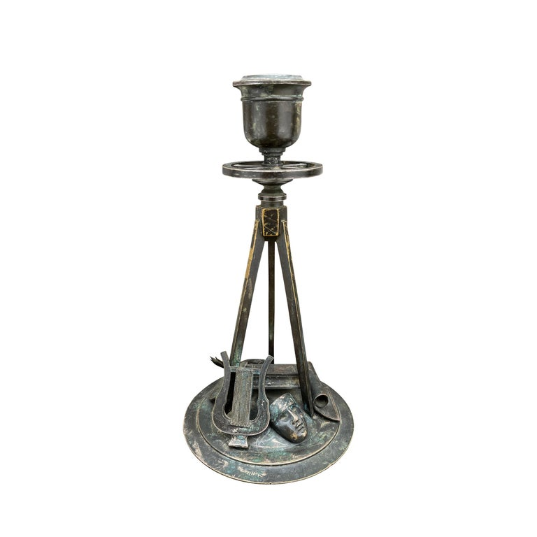 Early 19th Century French Empire Bronze Candlesticks In Fair Condition For Sale In Chicago, IL