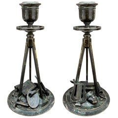 Early 19th Century French Empire Bronze Candlesticks