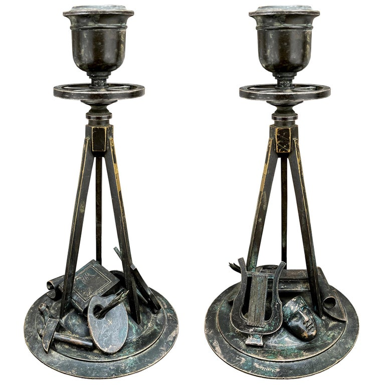 Early 19th Century French Empire Bronze Candlesticks For Sale