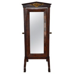 Early 19th Century French Empire Dressing Cheval Mirror / Psyche in Mahogany