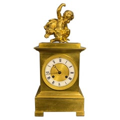 Early 19th Century French Empire Gilt Bronze 8 Day Mantle Clock