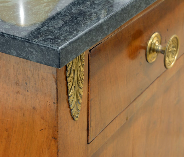 Early 19th Century French Empire Gilt Bronze Mounted Walnut Marble Top Cabinet 7