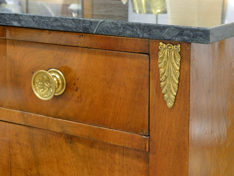 Early 19th Century French Empire Gilt Bronze Mounted Walnut Marble Top Cabinet In Good Condition In Ft. Lauderdale, FL