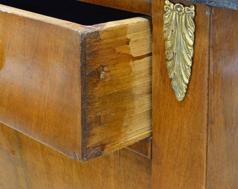 Early 19th Century French Empire Gilt Bronze Mounted Walnut Marble Top Cabinet 1