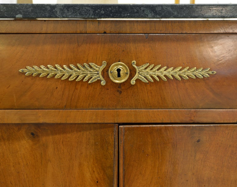 Early 19th Century French Empire Gilt Bronze Mounted Walnut Marble Top Cabinet 2