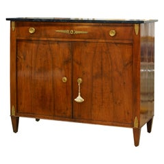 Early 19th Century French Empire Gilt Bronze Mounted Walnut Marble Top Cabinet