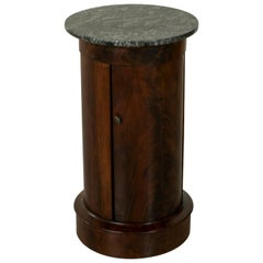 Early 19th Century French Empire Period Mahogany Somno or Drum Table with Marble
