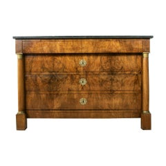 Early 19th Century French Empire Period Walnut Commode or Chest, Marble Top