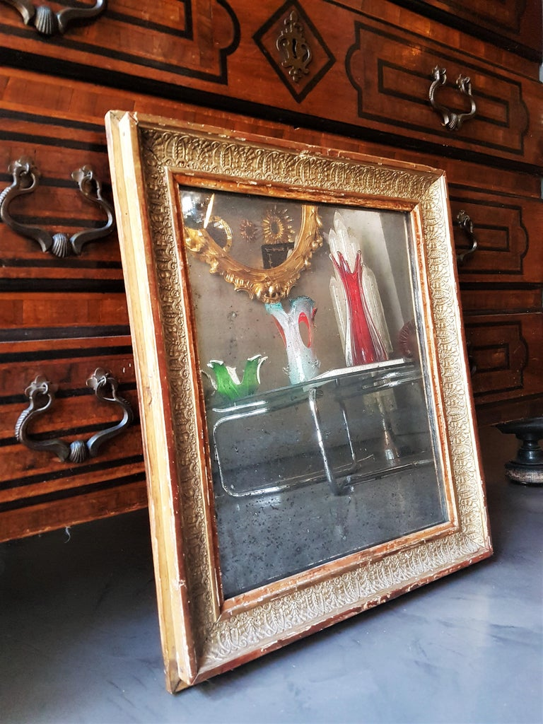 Early 19th Century French Empire Red and Gold Giltwood Rectangular Mirror In Good Condition For Sale In Barcelona, ES