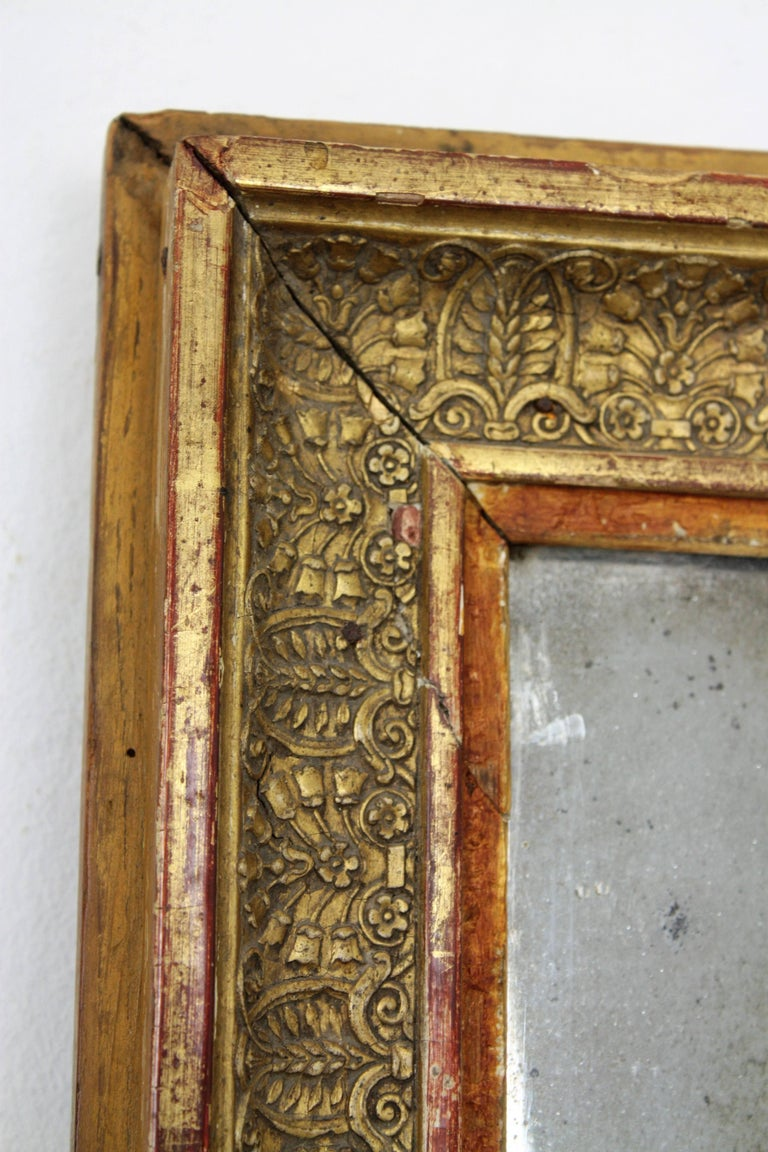 Gesso Early 19th Century French Empire Red and Gold Giltwood Rectangular Mirror For Sale