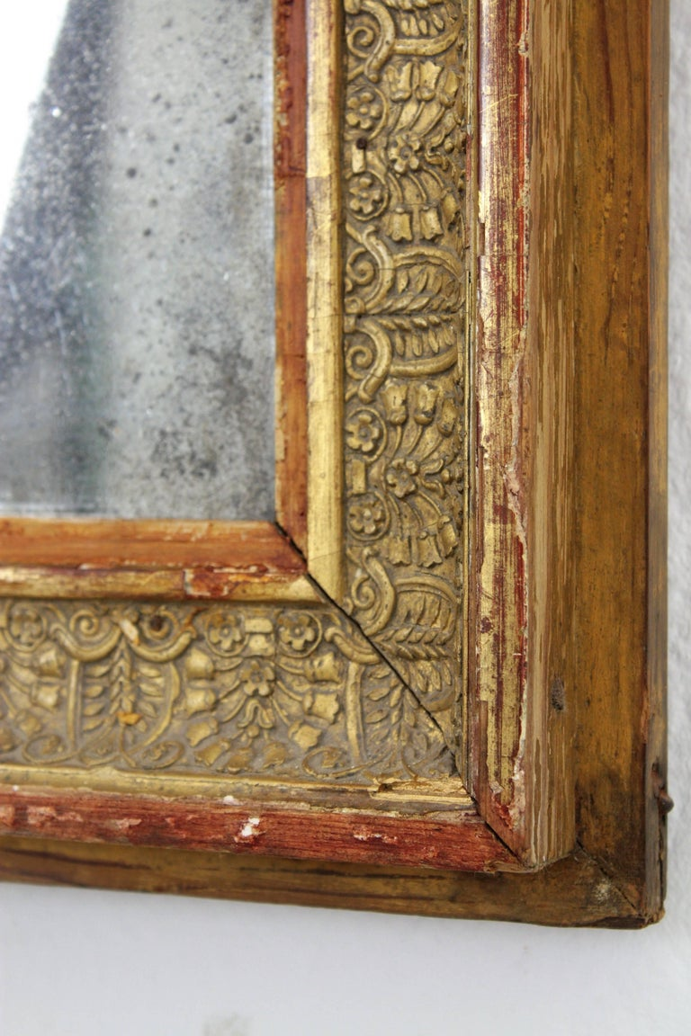 Early 19th Century French Empire Red and Gold Giltwood Rectangular Mirror For Sale 2