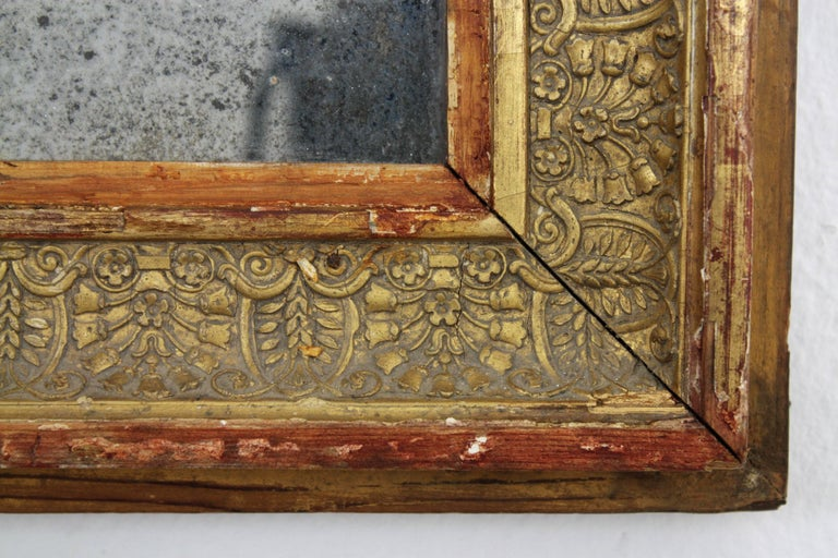 Early 19th Century French Empire Red and Gold Giltwood Rectangular Mirror For Sale 3