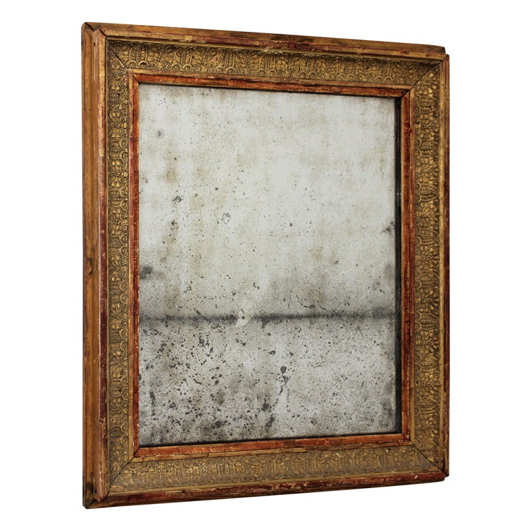 Early 19th Century French Empire Red and Gold Giltwood Rectangular Mirror For Sale