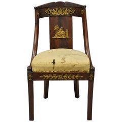 Early 19th Century French Empire Regency Mahogany Side Chair with Bronze Ormolu