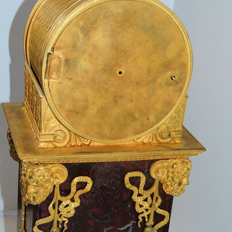Early 19th Century French Empire, Rouge Marble Dore Bronze Mounted Figural Clock 5