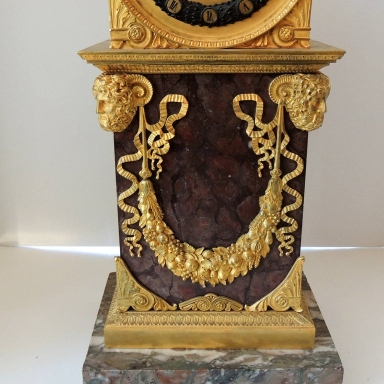 Neoclassical Early 19th Century French Empire, Rouge Marble Dore Bronze Mounted Figural Clock
