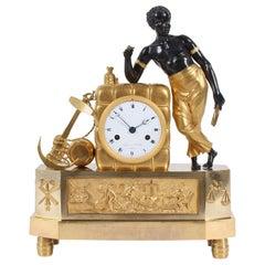 Early 19th Century French Firegilt Mantel Clock, Young Sailor, circa 1810
