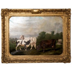 "Early 19th Century French Framed Cow Painting, ""Vacherie d'Escoville"""