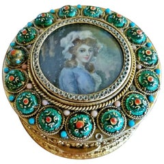 Early 19th Century French Gold Box with Enamel and Miniature Portrait