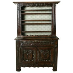 Early 19th Century French Hand Carved Chestnut Vaisselier Cupboard Buffet