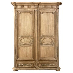 Early 19th Century French Louis XIV Stripped Oak Armoire